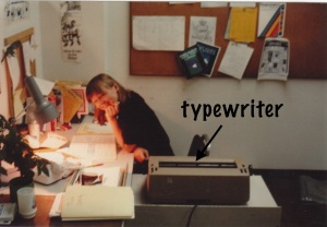 Typewriter & me at Fifth Ave office