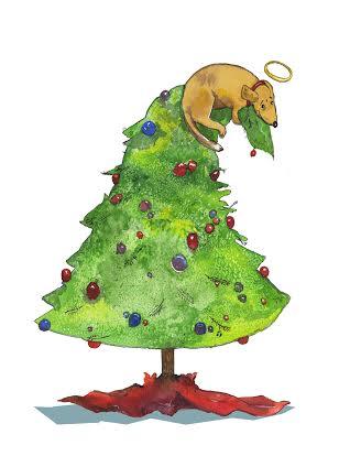 Dog on top of Christmas tree