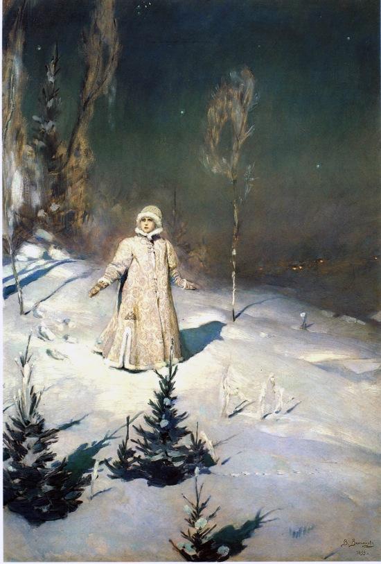 Snow Maiden in forest