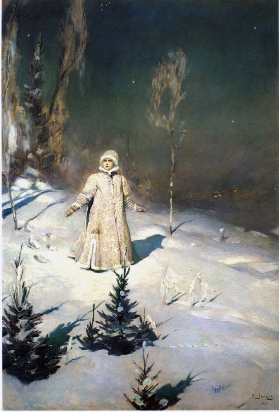 Snow Maiden in forest