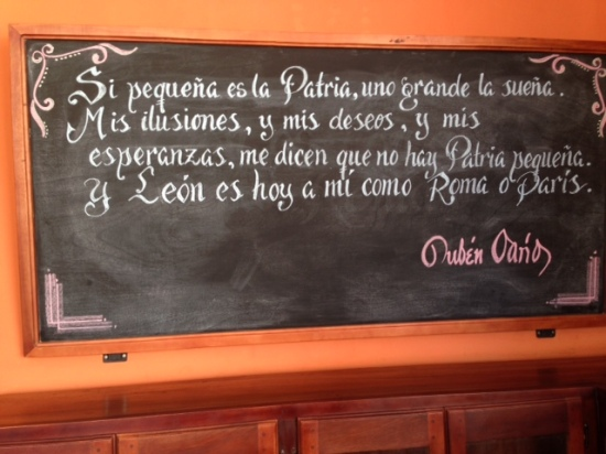 Ruben Dario passage on chalkboard