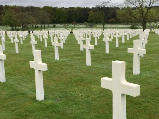 Cemetery with white crosses