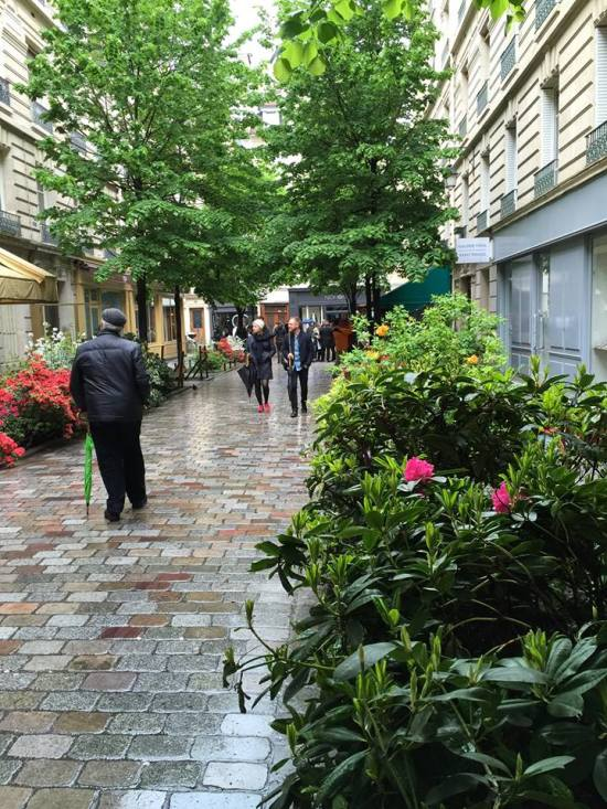 Paris street with plants, flowers
