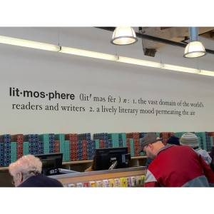 Litmosphere definition sign in Powell's Books